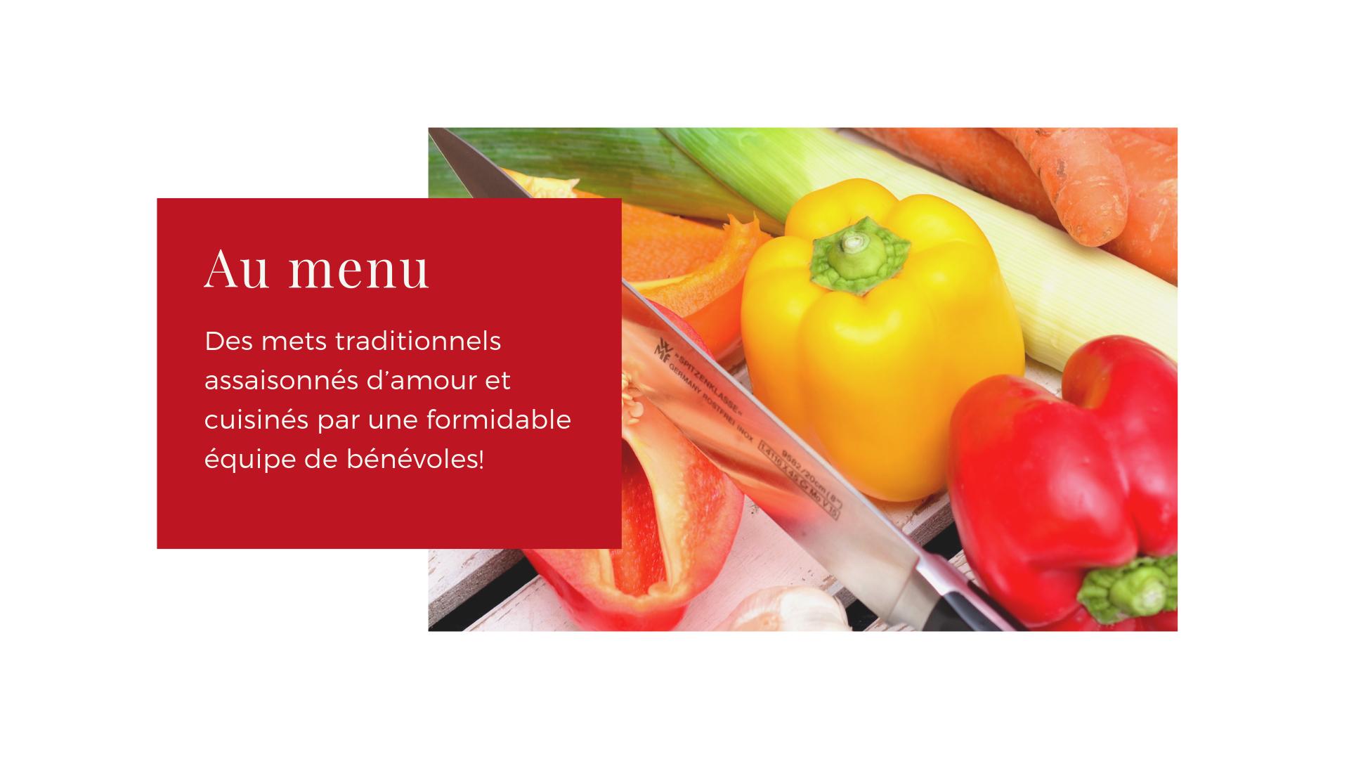 9 au menu mets traditionnels benevoles